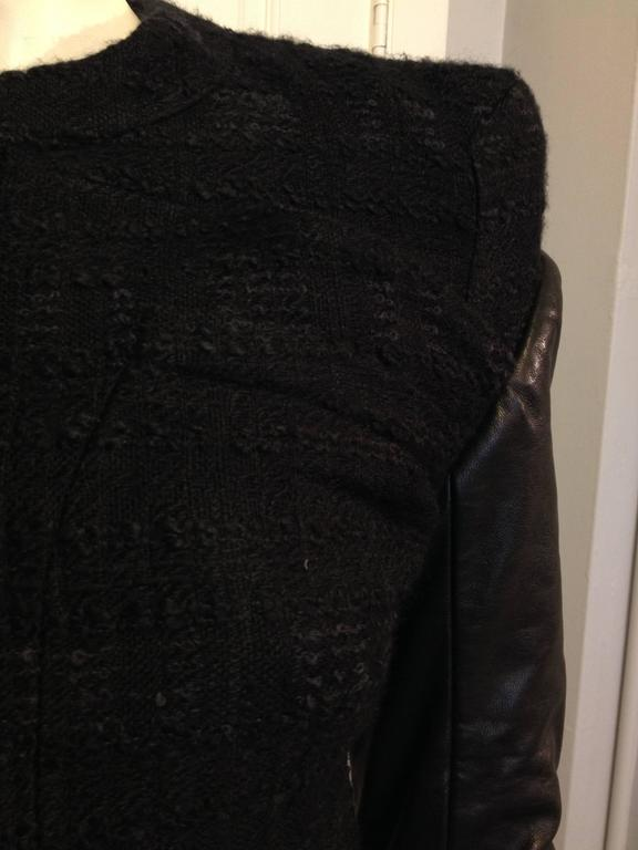 Givenchy Black Tweed Jacket with Leather Sleeves 7