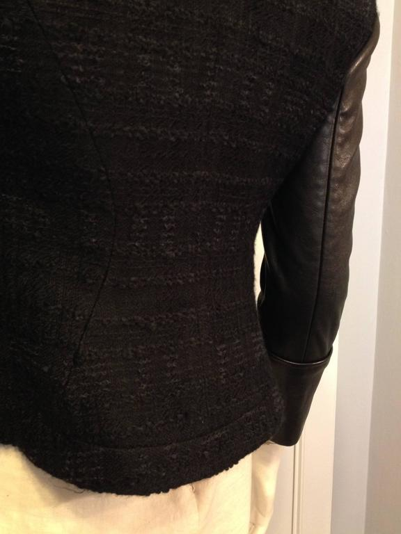 Givenchy Black Tweed Jacket with Leather Sleeves 8