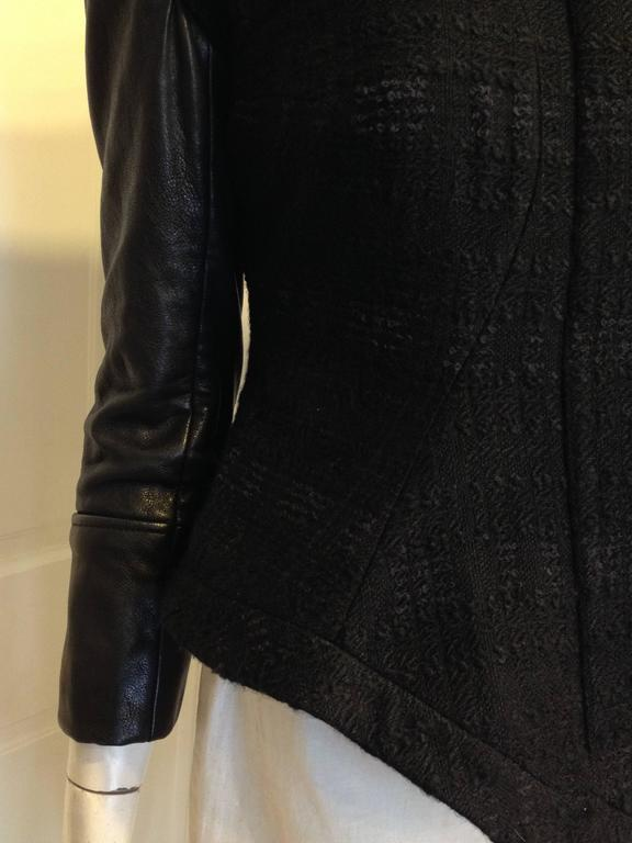 Givenchy Black Tweed Jacket with Leather Sleeves 9