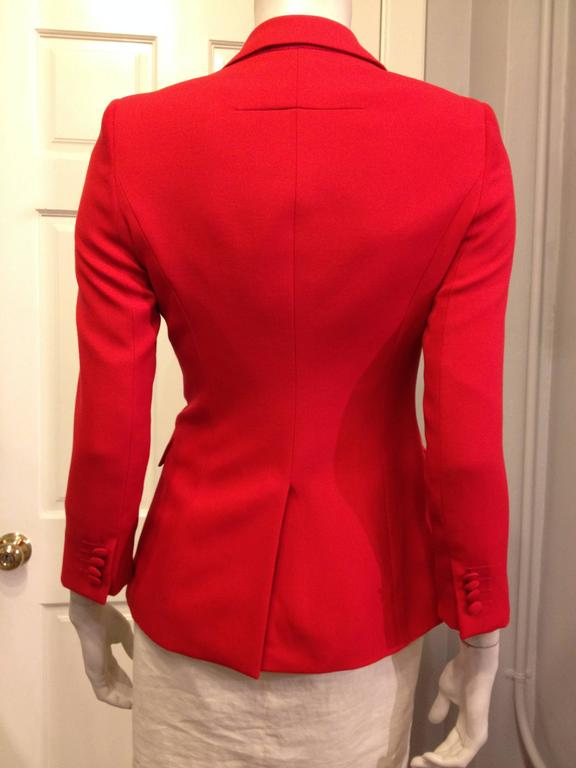 Givenchy Vermillion Red Blazer In Excellent Condition For Sale In San Francisco, CA