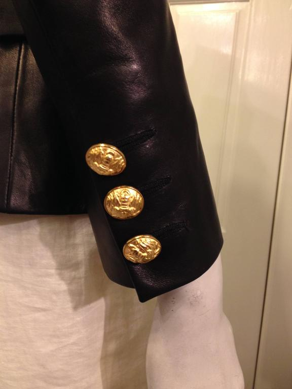 Balmain Black Leather Blazer With Gold Buttons At 1stdibs