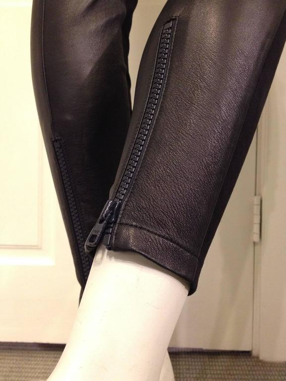 Givenchy Navy Suede and Black Leather Leggings 7