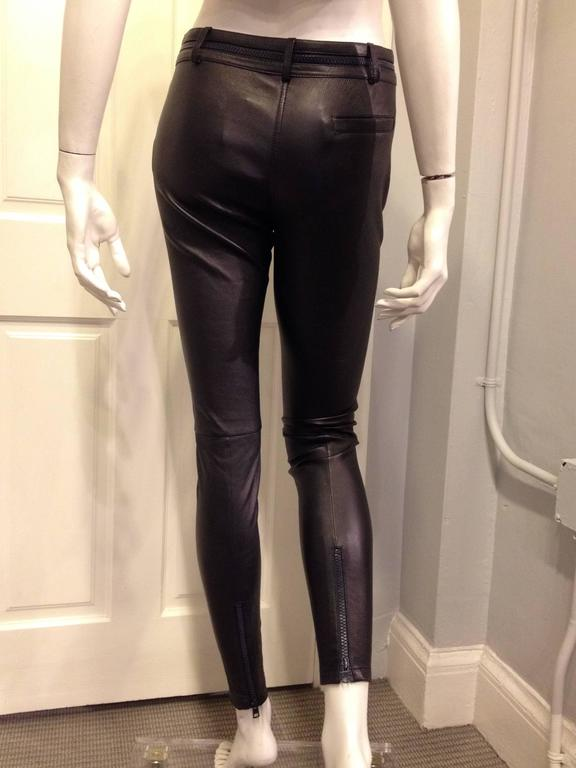 Givenchy Navy Suede and Black Leather Leggings 3