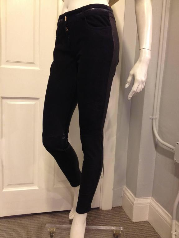 Givenchy Navy Suede and Black Leather Leggings 2