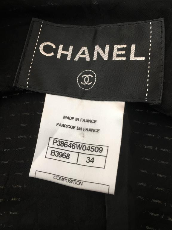 Chanel Black Woven Coat with Silver Sequins size 34 (2) For Sale 6