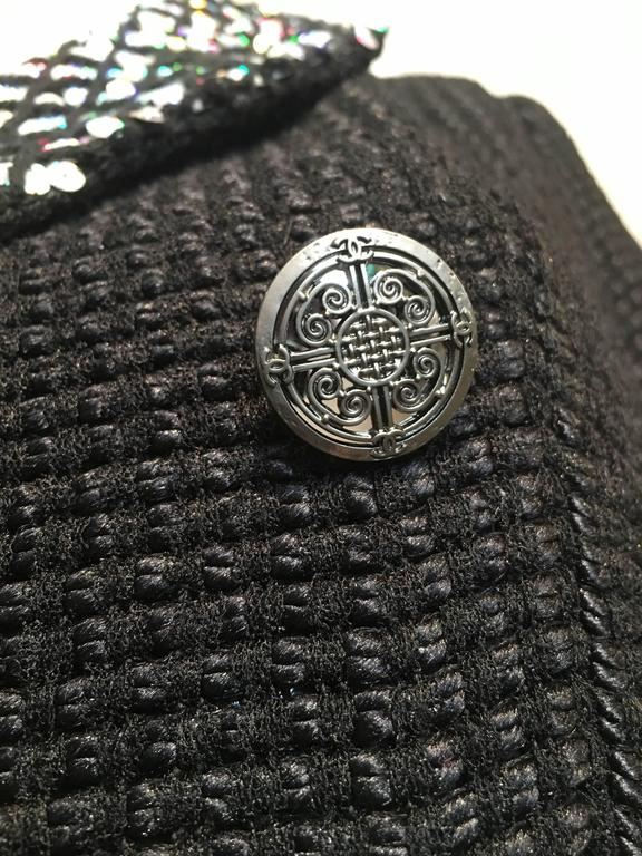 Chanel Black Woven Coat with Silver Sequins size 34 (2) For Sale 5