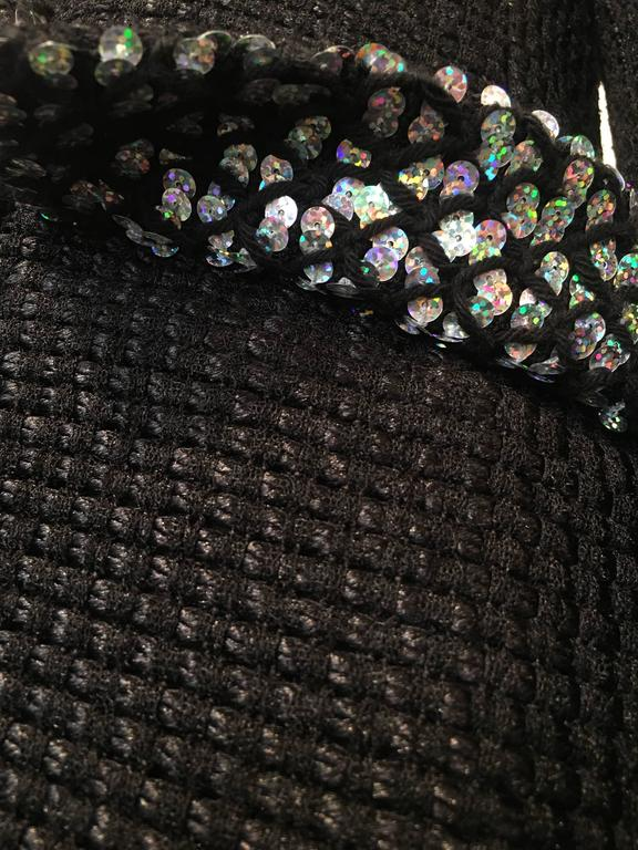 Chanel Black Woven Coat with Silver Sequins size 34 (2) For Sale 4