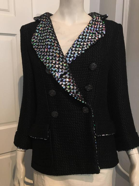 Chanel Black Woven Coat with Silver Sequins size 34 (2) For Sale 1