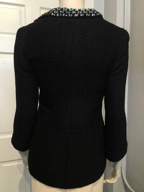 Women's Chanel Black Woven Coat with Silver Sequins size 34 (2) For Sale