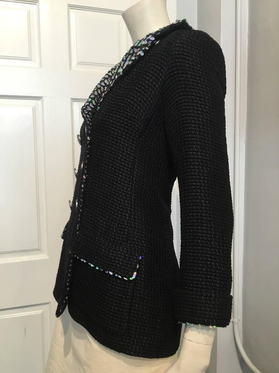 Chanel Black Woven Coat with Silver Sequins size 34 (2) In Excellent Condition For Sale In San Francisco, CA