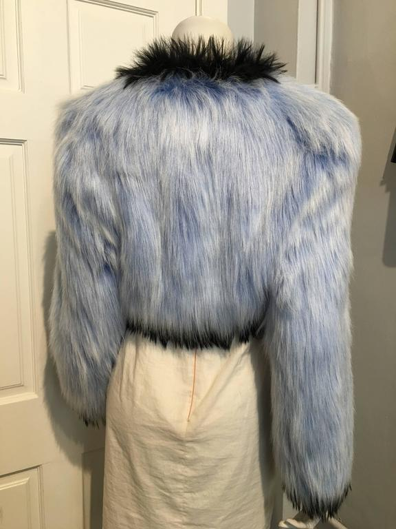 Chanel Baby Blue Fantasy Fur Cropped Jacket In Excellent Condition For Sale In San Francisco, CA