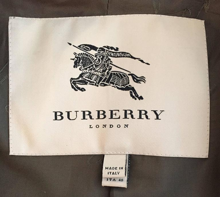 Burberry Olive and Cream Plaid Coat For Sale 1