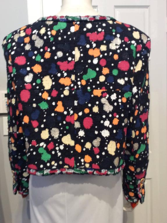 Black Chanel Paint Splatter Print Navy Cotton Mix Cropped Jacket For Sale