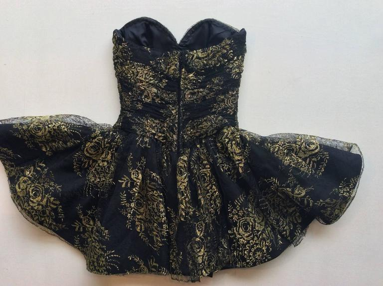 Vicky Tiel Couture Black Lace Strapless Mini Dress with Gold Floral Pattern 5