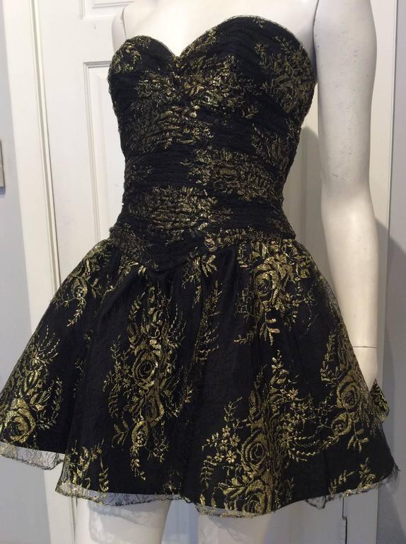 Vicky Tiel Couture Black Lace Strapless Mini Dress with Gold Floral Pattern 2