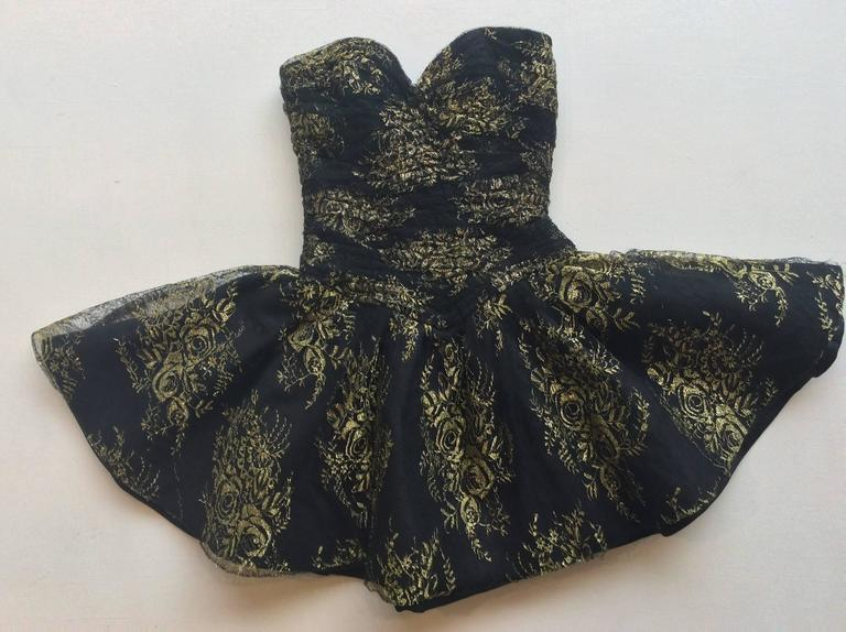 Vicky Tiel Couture Black Lace Strapless Mini Dress with Gold Floral Pattern 4