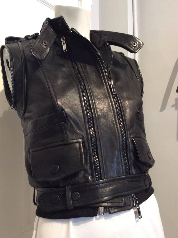 Givenchy Black Lamb Moto Jacket With Removable Collar Strap, Belt and Sleeves For Sale 4