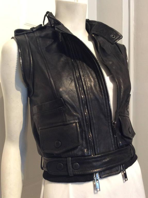 Givenchy Black Lamb Moto Jacket With Removable Collar Strap, Belt and Sleeves For Sale 5