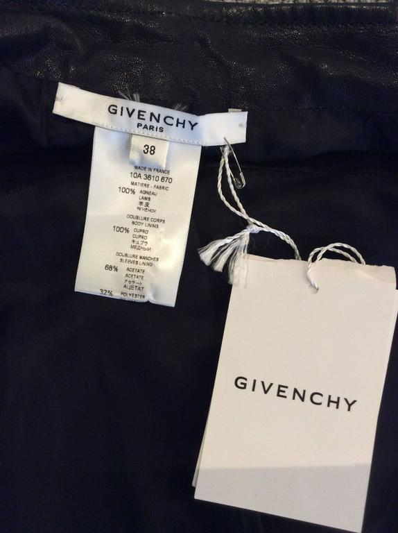 Givenchy Black Lamb Moto Jacket With Removable Collar Strap, Belt and Sleeves For Sale 6