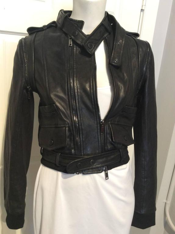 Givenchy Black Lamb Moto Jacket With Removable Collar Strap, Belt and Sleeves In New Condition For Sale In San Francisco, CA