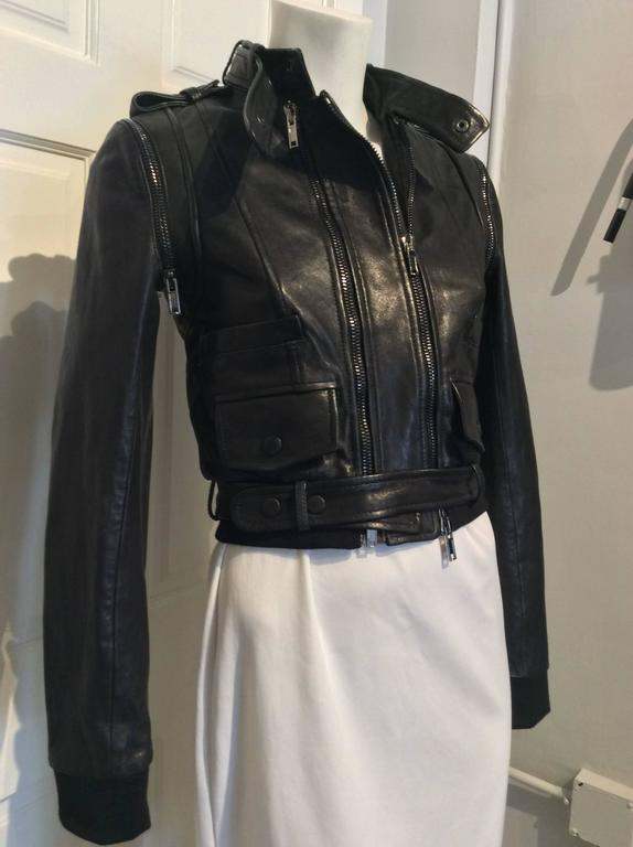 Women's or Men's Givenchy Black Lamb Moto Jacket With Removable Collar Strap, Belt and Sleeves For Sale