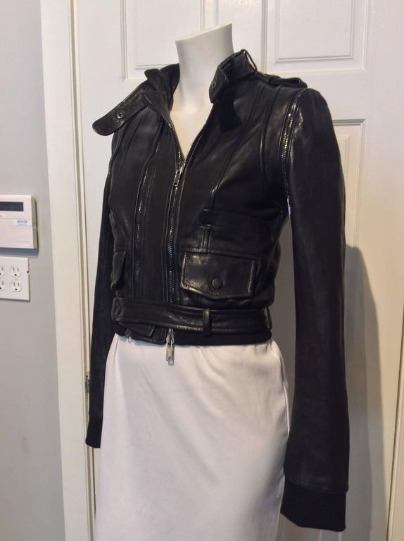 Givenchy Black Lamb Moto Jacket With Removable Collar Strap, Belt and Sleeves 5
