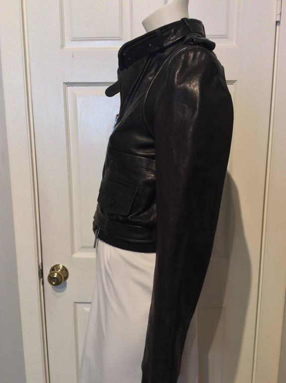 Givenchy Black Lamb Moto Jacket With Removable Collar Strap, Belt and Sleeves For Sale 2