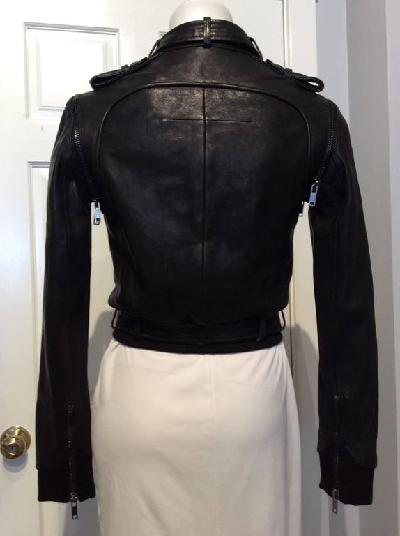 Givenchy Black Lamb Moto Jacket With Removable Collar Strap, Belt and Sleeves For Sale 3