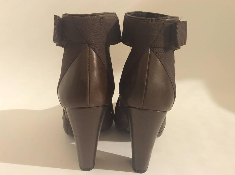 Black Givenchy Brown Leather Elastic Strappy Platform Sandals Sz 38 Heels For Sale
