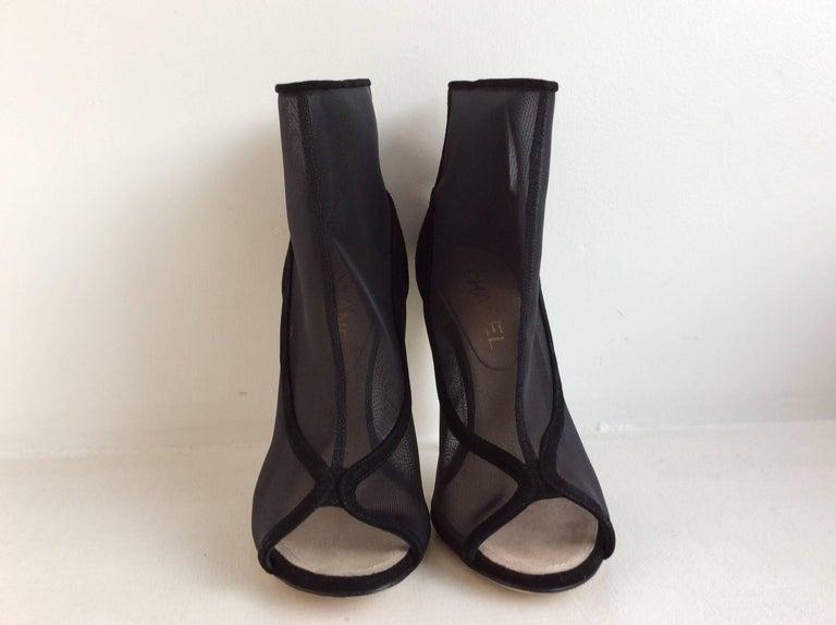 Chanel Black Mesh Booties With Clear Acrylic  Heel Sz 39 2