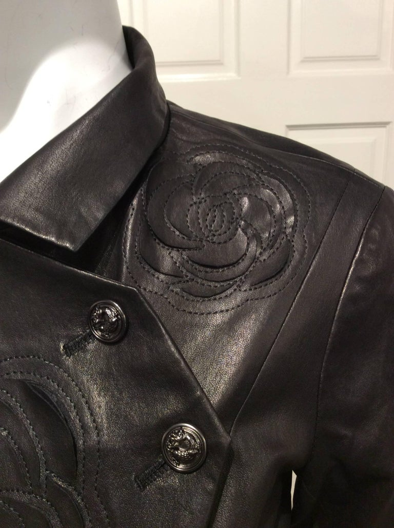 Chanel Black Leather Jacket With Cutout Appliqué Camellias Sz 36 (US 4) In New Condition For Sale In San Francisco, CA
