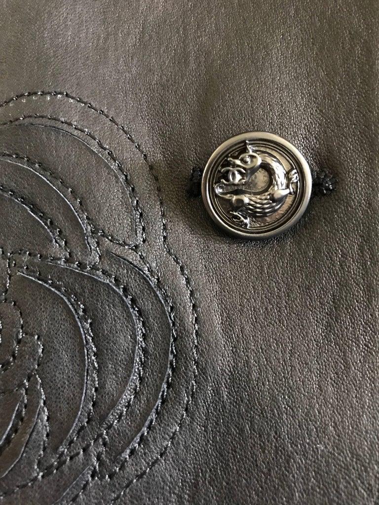 Chanel Black Leather Jacket With Cutout Appliqué Camellias Sz 36 (US 4) For Sale 3