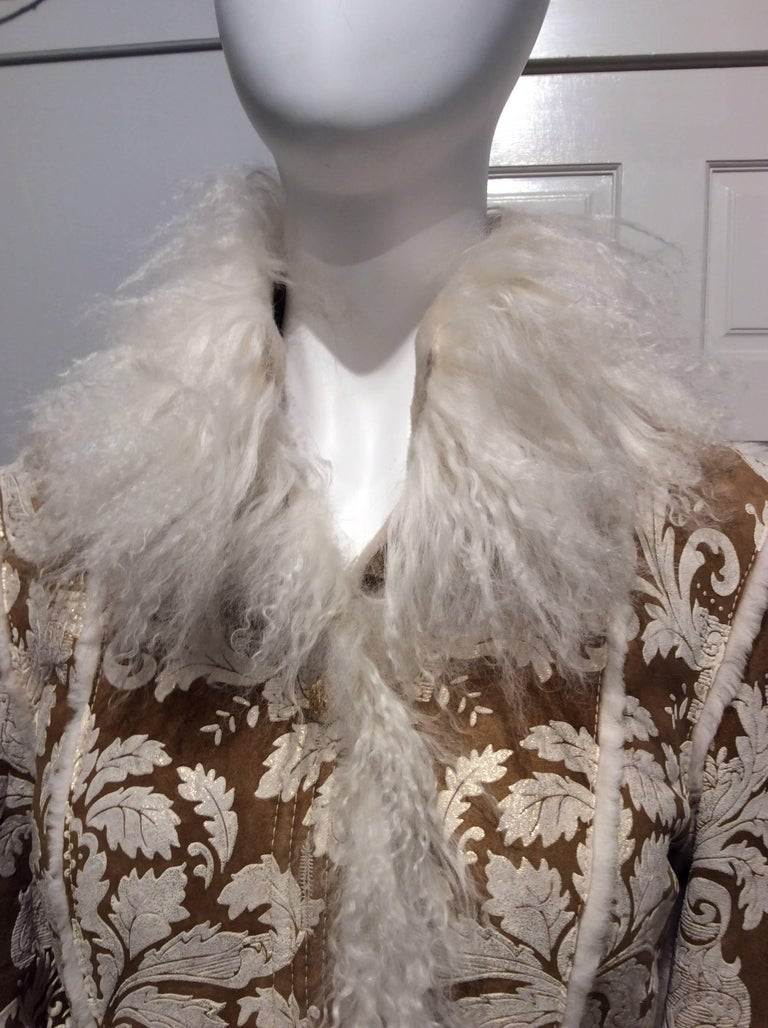 Chanel Shearling With Muted Gold Brocade Print And Curly Lamb Trim Sz 36 (US 4) 7