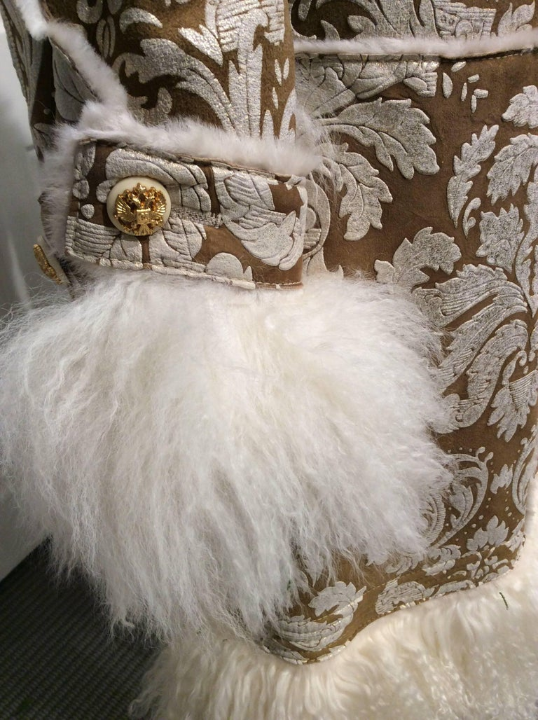 Chanel Shearling With Muted Gold Brocade Print And Curly Lamb Trim Sz 36 (US 4) 5