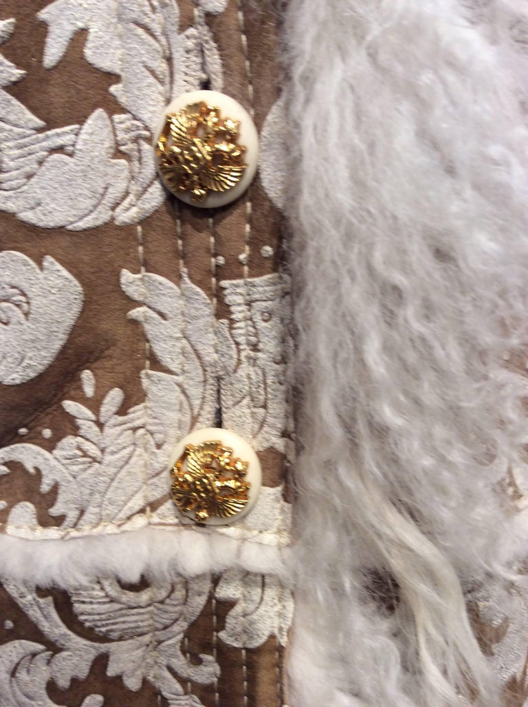 Chanel Shearling With Muted Gold Brocade Print And Curly Lamb Trim Sz 36 (US 4) 6