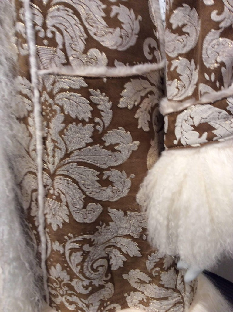 Chanel Shearling With Muted Gold Brocade Print And Curly Lamb Trim Sz 36 (US 4) 8