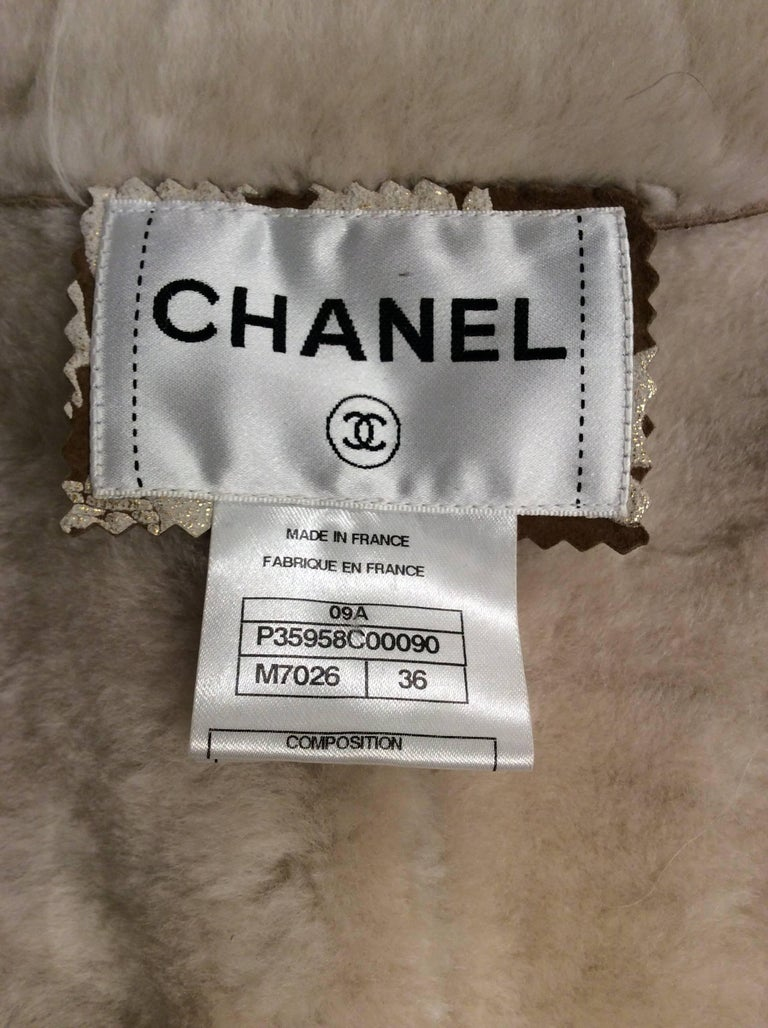 Chanel Shearling With Muted Gold Brocade Print And Curly Lamb Trim Sz 36 (US 4) 9