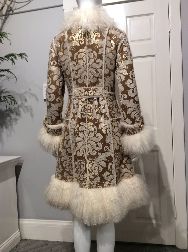Chanel Shearling With Muted Gold Brocade Print And Curly Lamb Trim Sz 36 (US 4) 3
