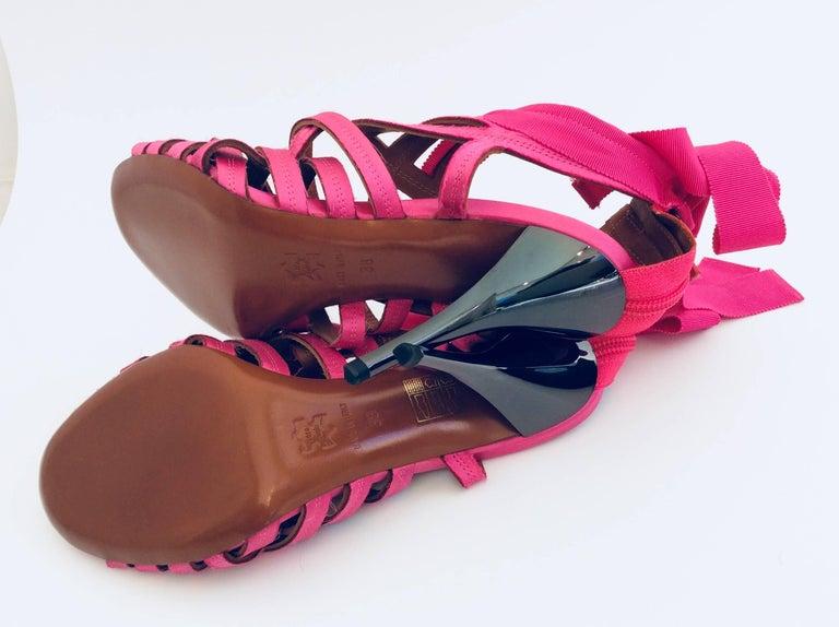 Women's Lanvin Candy Pink Ribbon Sandals With Pewter Stiletto Heels Sz38  - Eté 2009 For Sale