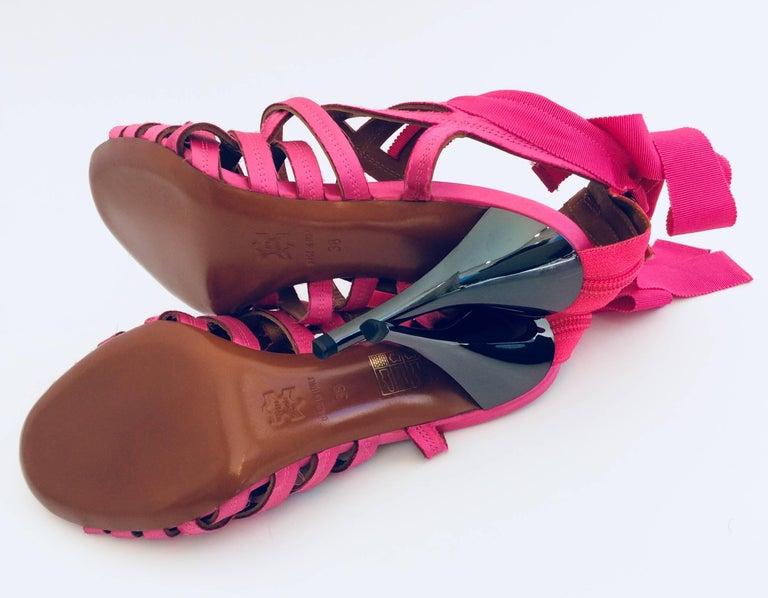 Lanvin Candy Pink Ribbon Sandals With Pewter Stiletto Heels Sz38  - Eté 2009 For Sale 1