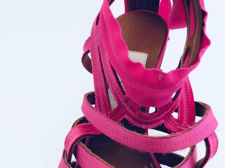 Lanvin Candy Pink Ribbon Sandals With Pewter Stiletto Heels Sz38  - Eté 2009 For Sale 2