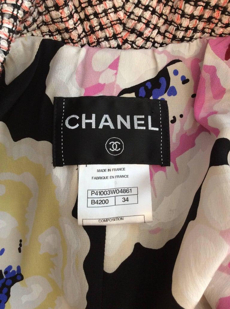 Chanel Pink, White, Black Tweed Fringe A-Line Jacket w/ Gold Buttons Sz34/Us2 For Sale 1