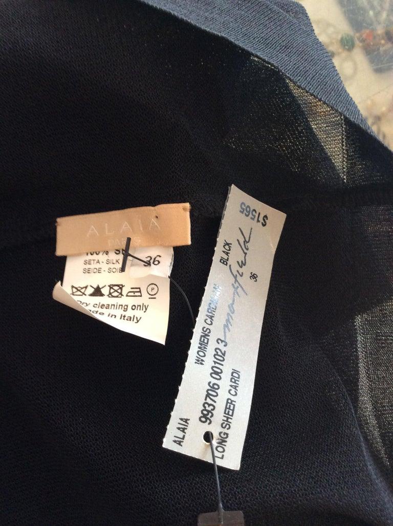 Alaia Black Silk Sheer Open Cardigan  For Sale 1