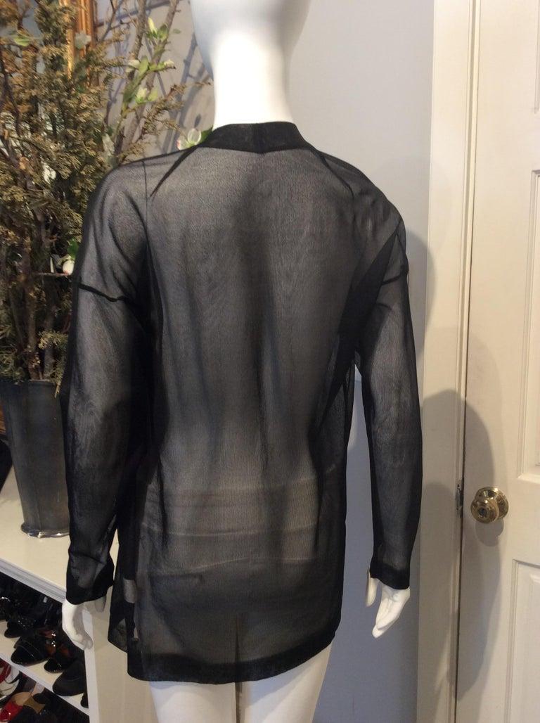Women's Alaia Black Silk Sheer Open Cardigan  For Sale