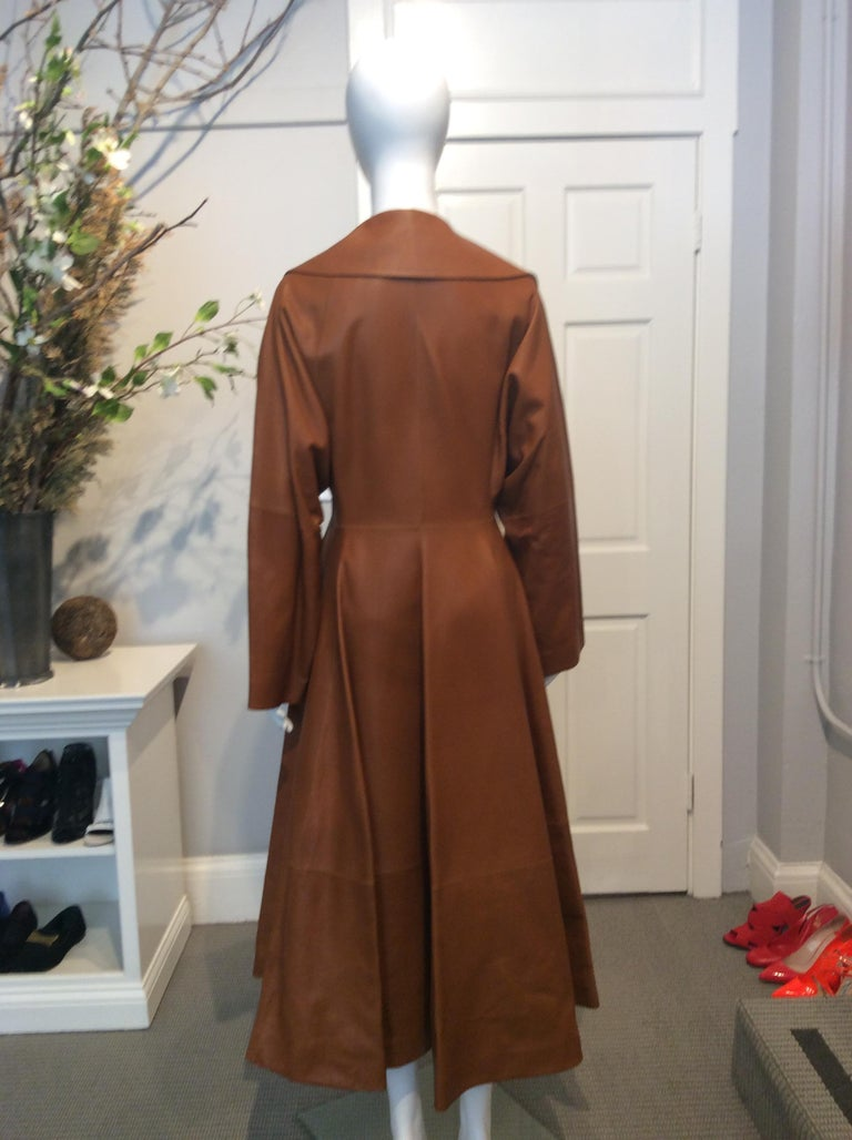 Women's The Row Long Caramel Leather Coat Size 6 For Sale