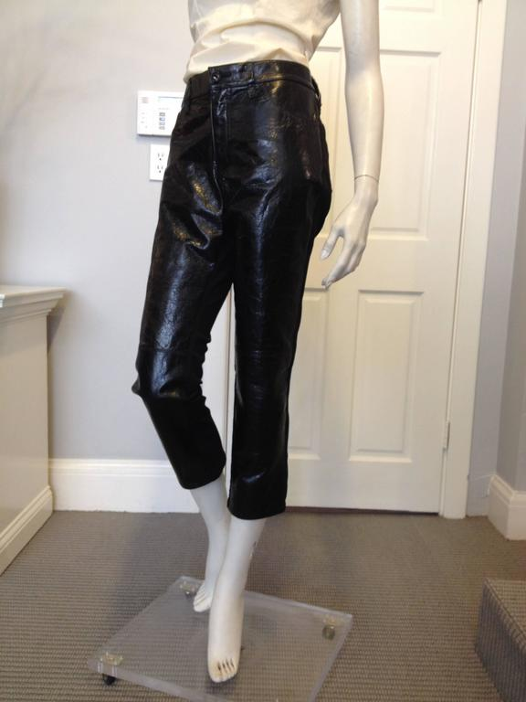 Junya Watanabe Black Leather and Fabric Pants Size L 2