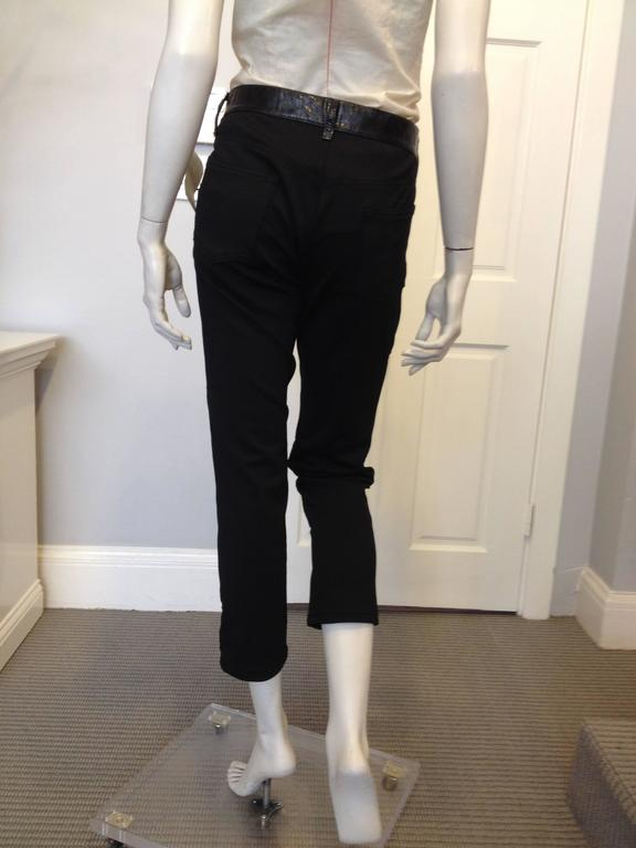 Junya Watanabe Black Leather and Fabric Pants Size L In Excellent Condition For Sale In San Francisco, CA