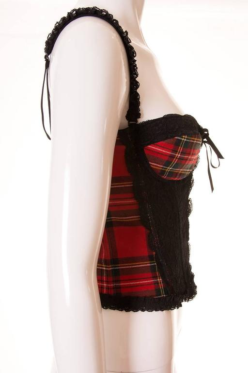 Dolce and Gabbana Tartan and Lace Bustier 3