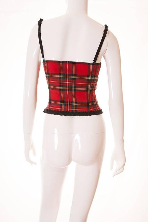 Dolce and Gabbana Tartan and Lace Bustier 4