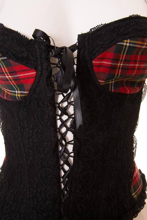 Dolce and Gabbana Tartan and Lace Bustier 5
